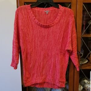 Bright Coral 3/4 Sleeve Sweater